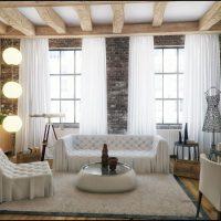 дизайн гостиной в стиле лофт фото 36