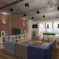 дизайн гостиной в стиле лофт фото 49