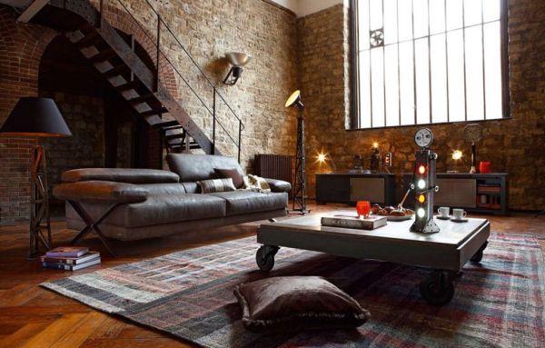 интерьер гостиной в стиле лофт фото