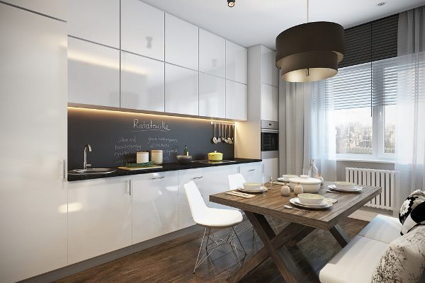 Кухни модерн прямые с пеналом фото