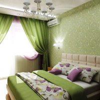 дизайн зеленой спальни фото