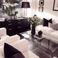 гостиная в черно белом цвете фото 11