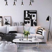 гостиная в черно белом цвете фото 21