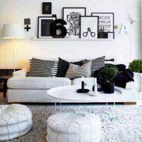 гостиная в черно белом цвете фото 22