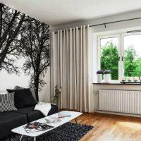 гостиная в черно белом цвете фото 23