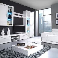 гостиная в черно белом цвете фото 34