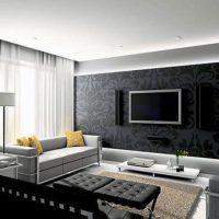 гостиная в черно белом цвете фото 35