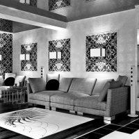 гостиная в черно белом цвете фото 42