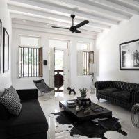 гостиная в черно белом цвете фото 43