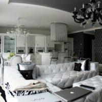 гостиная в черно белом цвете фото 44