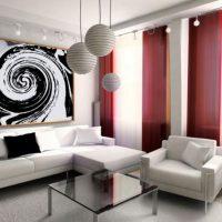 гостиная в черно белом цвете фото 8