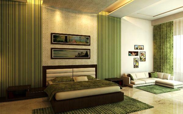 спальня в зелено бежевых тонах фото