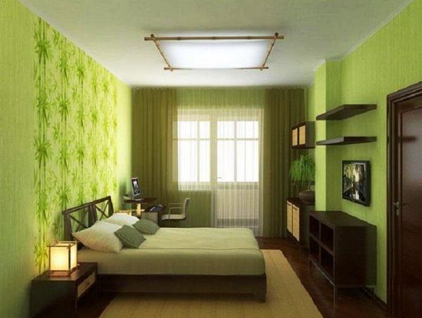 спальня в салатовом цвете дизайн фото