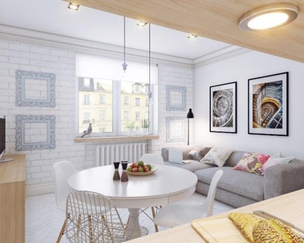 Кухня-гостиная в скандинавском стиле фото