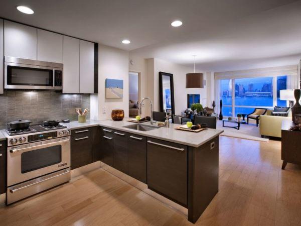 Кухня гостиная стиле хай тек фото