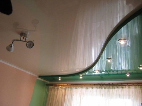 натяжные потолки двухуровневые фото для спальни