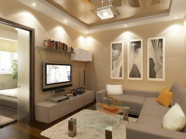 планировка маленькой гостиной