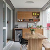 интерьер кухни с балконом фото 56