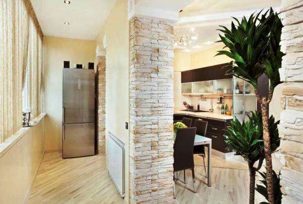 кухня совмещенная с балконом дизайн фото 2