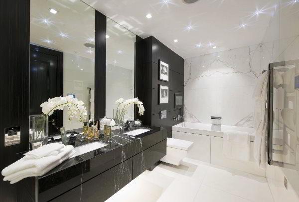 Дизайн ванной комнаты в черно-белом цвете: фото, креативные идеи и подходы