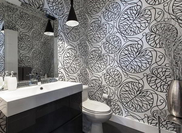 черно белый интерьер ванной комнаты фото 11