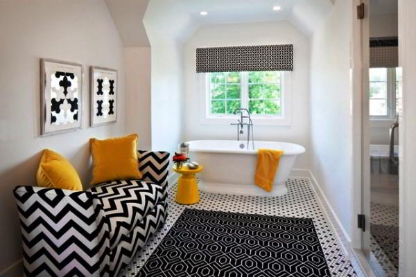 черно белый интерьер ванной комнаты фото 15