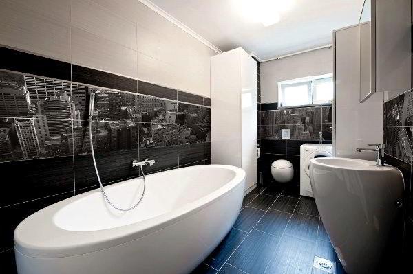 дизайн ванной в черно белом стиле фото 6