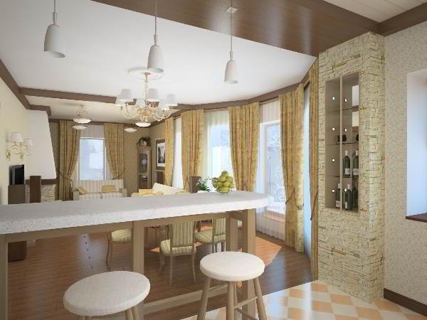 гостиная совмещенная с кухней дизайн фото 6