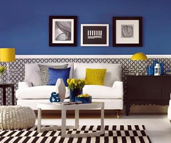 идеи комбинирования обоев в гостиной фото 12
