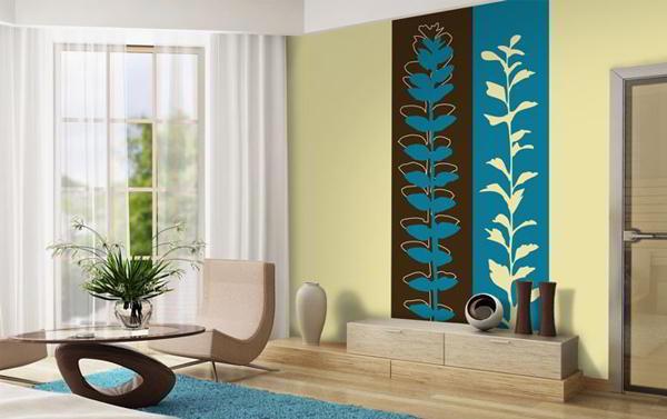 идеи комбинирования обоев в гостиной фото 2