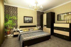 комбинированные обои для спальни фото 24