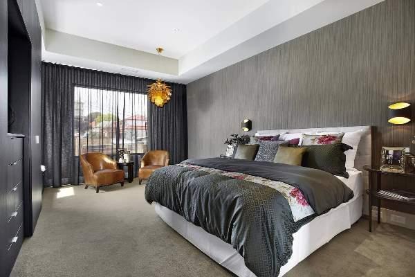 спальня в серых тонах фото 13