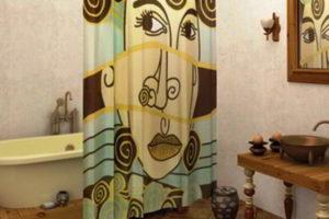 шторки в ванную фото 43