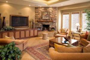 угловые камины в интерьере гостиной фото 3