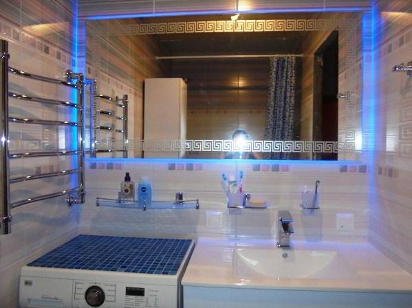 зеркало в ванную комнату с подсветкой фото 7