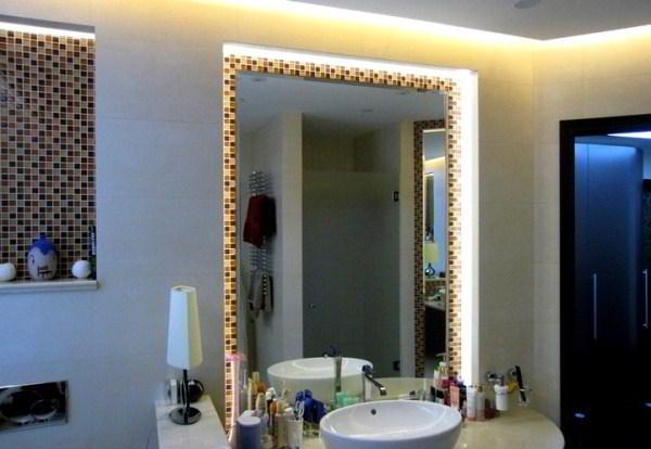 зеркало в ванную комнату с подсветкой фото 9