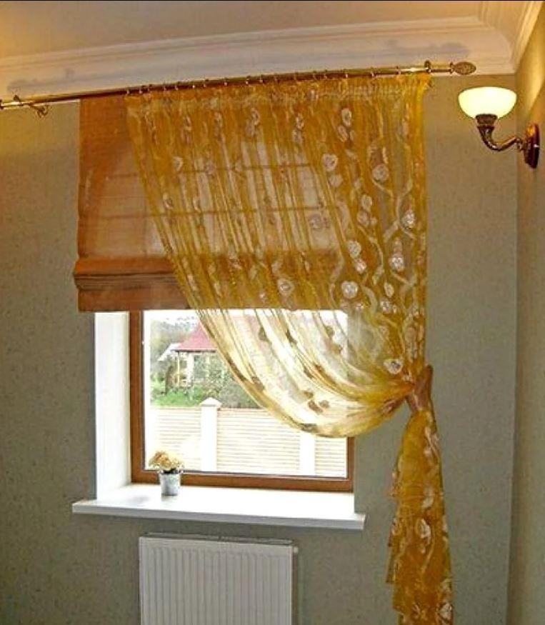 римская штора и тюль на кухню
