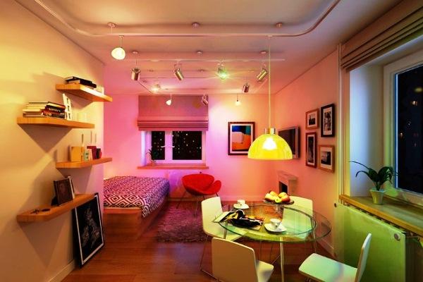 дизайн интерьера однокомнатной квартиры-студии фото 16