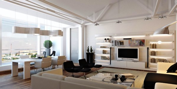 дизайн интерьера однокомнатной квартиры студии фото 6