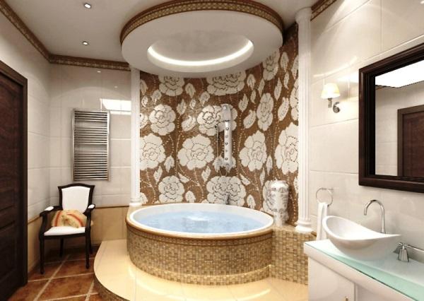 натяжные потолки фото ванной комнаты