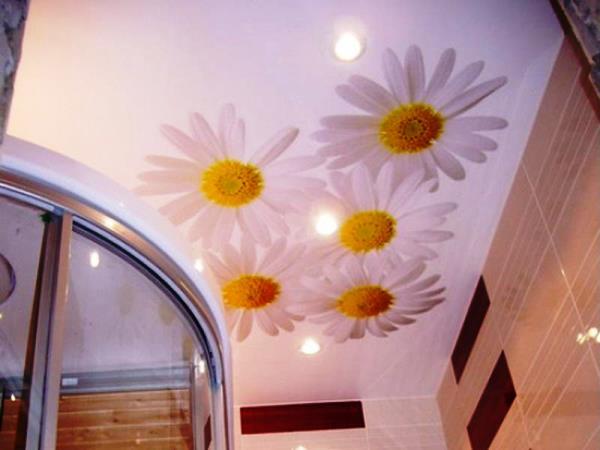 натяжные потолки с фотопечатью для ванной фото
