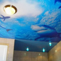 натяжные потолки в ванной фото 9