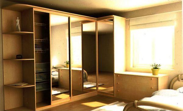 угловые шкафы купе в спальню дизайн фото 4