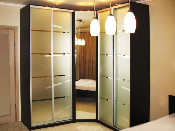 встроенный угловой шкаф купе в спальню фото