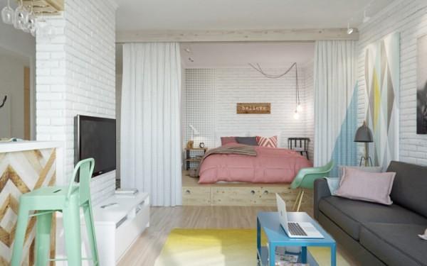 интерьер маленькой квартиры студии фото