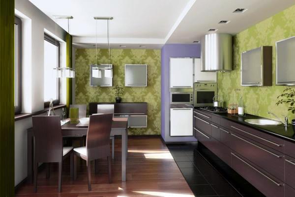 какой цвет обоев выбрать для кухни фото