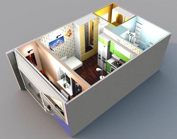 планировка однокомнатной квартиры студии фото