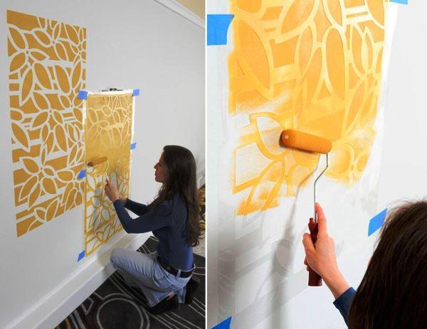 трафарет цветов на стену фото 12