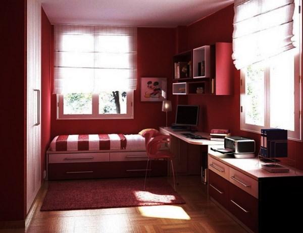 сочетание бордового цвета в интерьере
