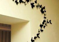трафарет бабочки из бумаги на стену